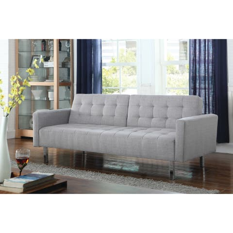 """Transitional Light Grey Tufted Sofa Bed - 79.50"""" x 34.75"""" x 33.50"""""""