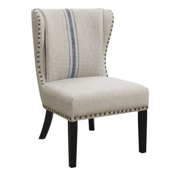 Shop Traditional Grey And Blue Accent Chair