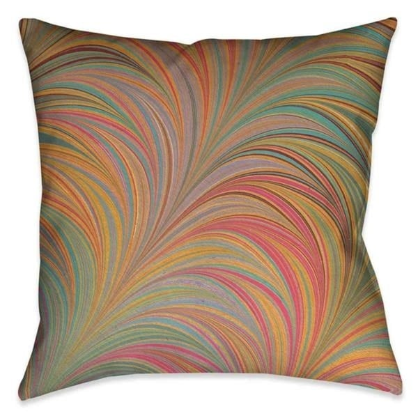 Laural Home Multi-Color Waves Outdoor Decorative Pillow
