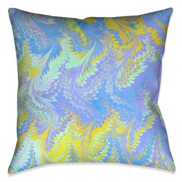 Laural Home Yellow Marbled Shades Outdoor Decorative Pillow
