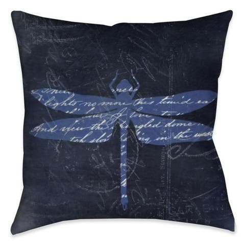 Laural Home Meditation Dragonfly II Outdoor Decorative Pillow