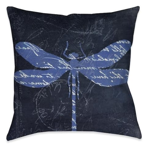 Laural Home Meditation Dragonfly I Outdoor Decorative Pillow