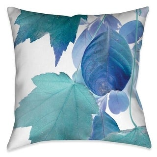 Laural Home Turquoise Leaves Outdoor Decorative Pillow