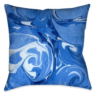 Laural Home Sea Blue II Marble Outdoor Decorative Pillow