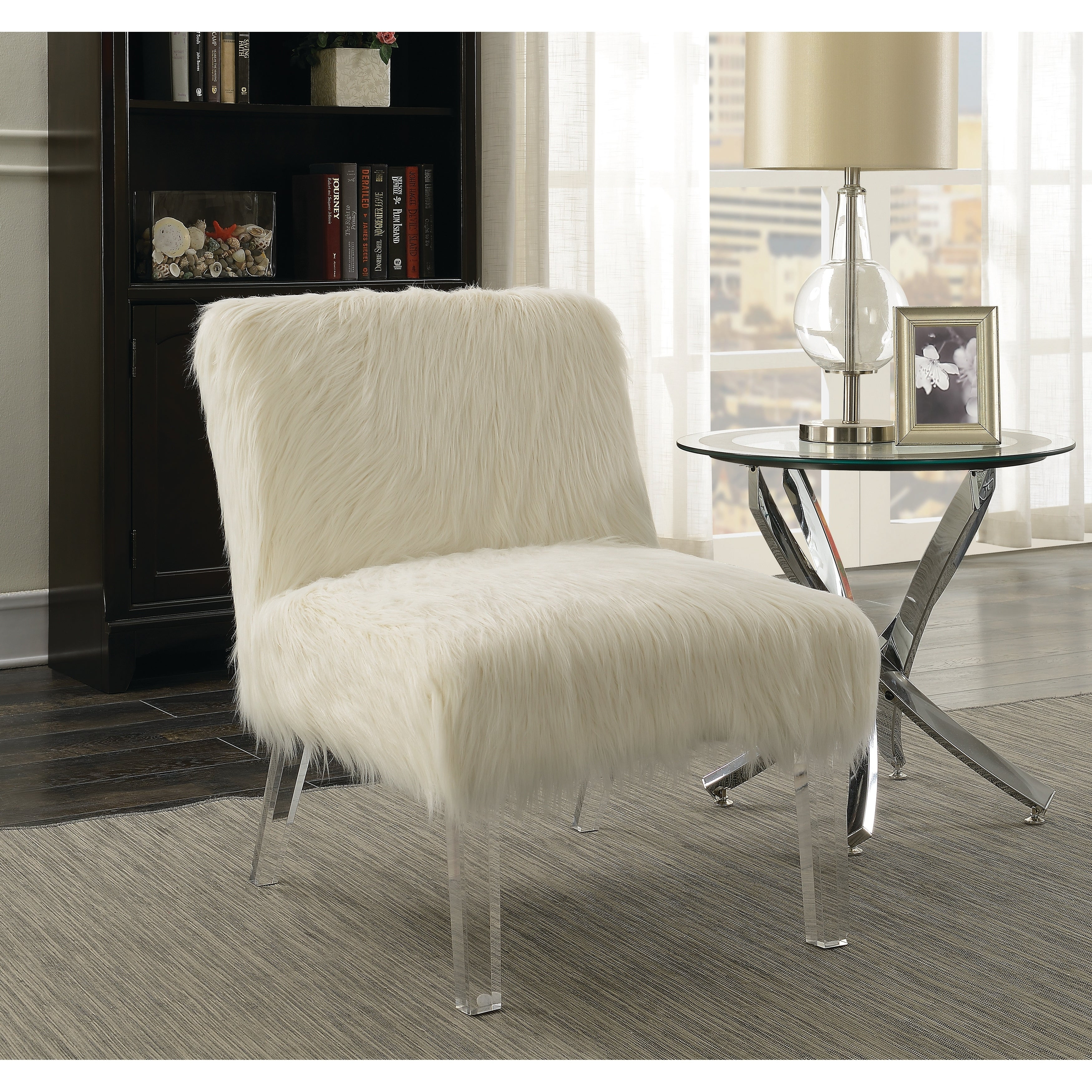 Image of: Shop Black Friday Deals On Contemporary White And Clear Accent Chair 23 50 X 31 X 31 On Sale Overstock 22047429