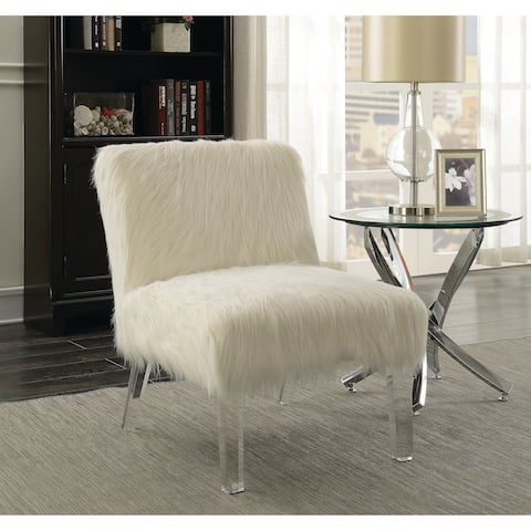 Contemporary White and Clear Accent Chair
