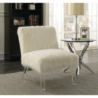 """Contemporary White and Clear Accent Chair - 23.50"""" x 31"""" x 31"""""""