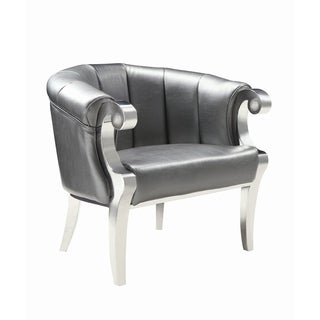 Glamorous Silver and Chrome Accent Chair