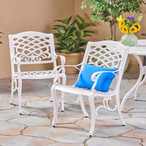 Phoenix Outdoor White Cast Aluminum Arm Chair (Set of 2) by Christopher Knight Home