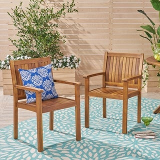 Wilson Outdoor Acacia Wood Dining Chairs (Set of 2) by Christopher Knight Home