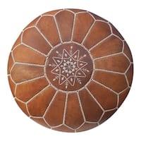 Unstuffed Moroccan Leather Ottoman Pouf Tan