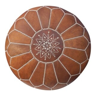 Unstuffed Moroccan Leather Ottoman Pouf Tan