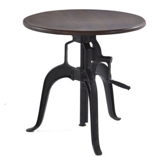 World Interiors Acacia Wood Small Adjustable Crank Side Table