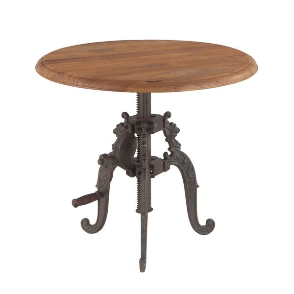 World Interiors Reclaimed Weathered Grey Teak Adjustable Round Side Table