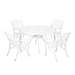 Phoenix Outdoor White Cast Aluminum Round 5 Piece Dining Set by Christopher Knight Home