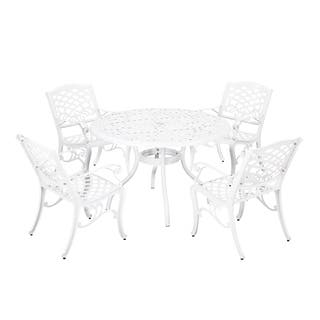 Buy White Umbrella Hole Outdoor Dining Sets Online At Overstockcom - White outdoor dining table with umbrella hole