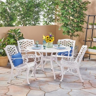 Phoenix Traditional Outdoor 4 Seater Round Cast Aluminum Dining Set by Christopher Knight Home