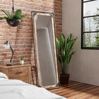 Revo III Industrial Antique Black Framed Free-standing Mirror by FOA - Antique Black
