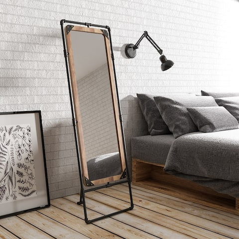 Revo II Industrial Antique Black Framed Free-standing Mirror by FOA - Antique Black - A/N