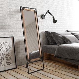Revo II Industrial Antique Black Framed Free-standing Mirror by FOA