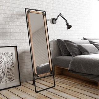 Furniture of America Revo II Industrial Antique Black Framed Free-standing Mirror