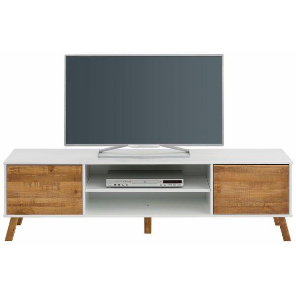 Rafael 2 Door TV Lowboard, Solid Pine, Off White / Natural