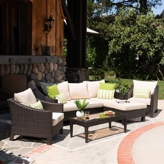 Antibes Outdoor 5 Seater L-Shaped Sofa Set with Cushions by Christopher Knight Home