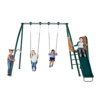 Sportspower Alta Oaks Heavy Duty A Frame Swing Set with Wooden Deck and Slide