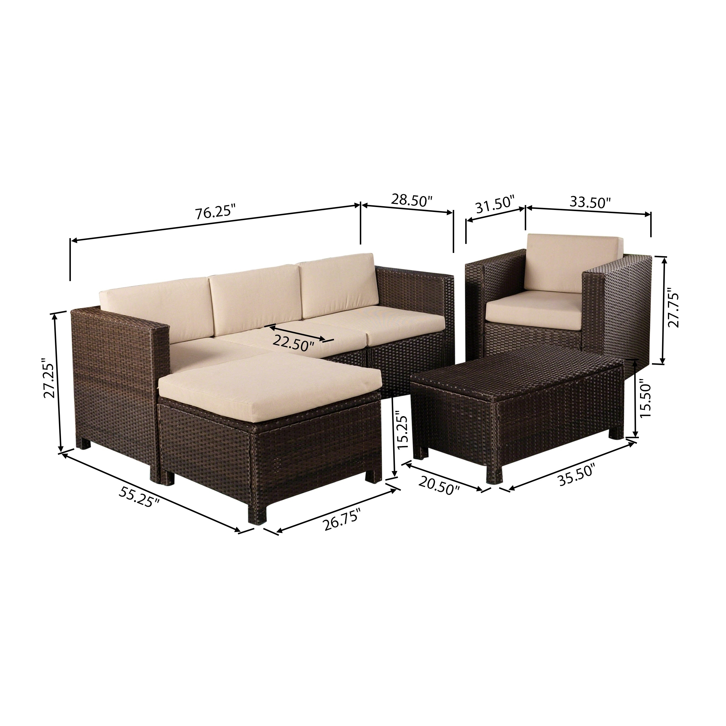 Puerta Outdoor 4 Seater L-Shaped Sofa Set with Cushions by Christopher  Knight Home