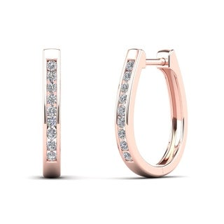 AALILLY 10k Rose Gold 1/3ct TDW Diamond U-Hoop Earrings (H-I, I1-I2)