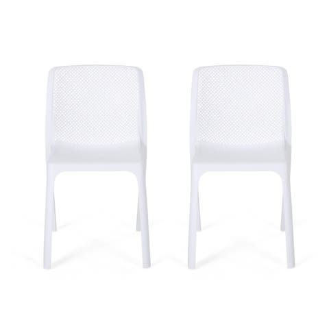 Labaron Outdoor Plastic Chairs (Set of 2) by Christopher Knight Home