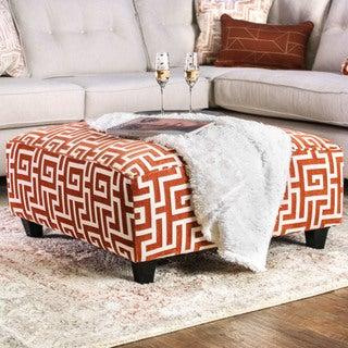 Furniture of America Leto Contemporary Orange Greek Key Accent Ottoman