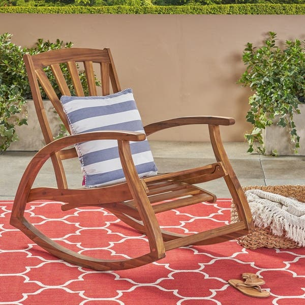 Surprising Shop Sunview Outdoor Acacia Rocking Chair With Footrest By Unemploymentrelief Wooden Chair Designs For Living Room Unemploymentrelieforg