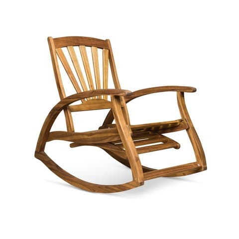 Sunview Outdoor Acacia Rocking Chair with Footrest by Christopher Knight Home