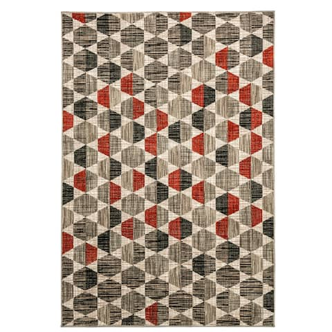 Furniture of America Tacoma Raised Pattern Brown & Grey Hexagon Rug - 5' x 7'2""