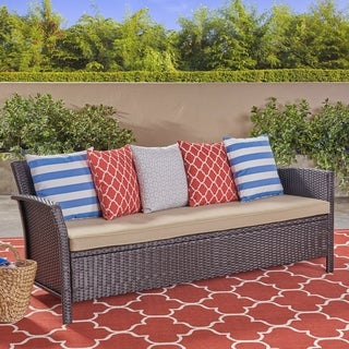 Link to St. Lucia Outdoor Wicker 3 Seater Sofa by Christopher Knight Home Similar Items in Outdoor Sofas, Chairs & Sectionals