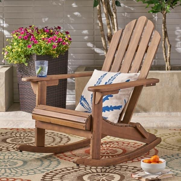 Sensational Shop Hollywood Outdoor Adirondack Acacia Rocking Chair By Unemploymentrelief Wooden Chair Designs For Living Room Unemploymentrelieforg