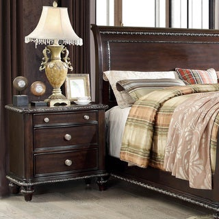 Furniture of America Pols Traditional Espresso Solid Wood Nightstand