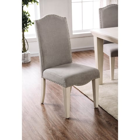 Furniture of America Sope Modern White Dining Chairs (Set of 2)