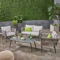Oceanus Outdoor 4 Seater Wicker Chat Set by Christopher Knight Home
