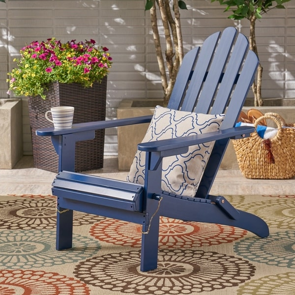 Shop Hollywood Outdoor Foldable Acacia Adirondack Chair by Christopher Knight Home ...