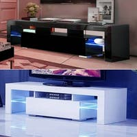51 inch Home Furniture TV Stand Bench with LED Lights Shelves