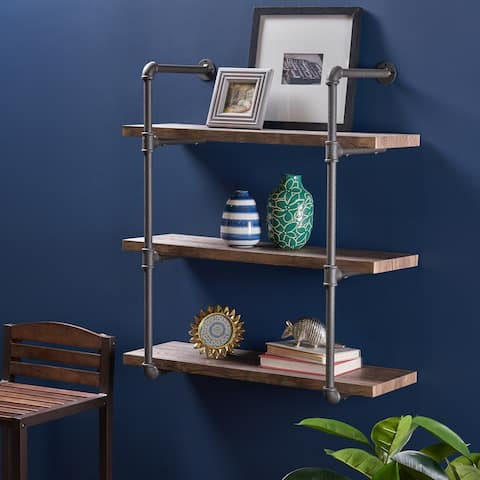 """Staci Industrial 3 Shelf Faux Wood Floating Shelf by Christopher Knight Home - 31.25"""" W x 12.00"""" D x 34.75"""" H"""