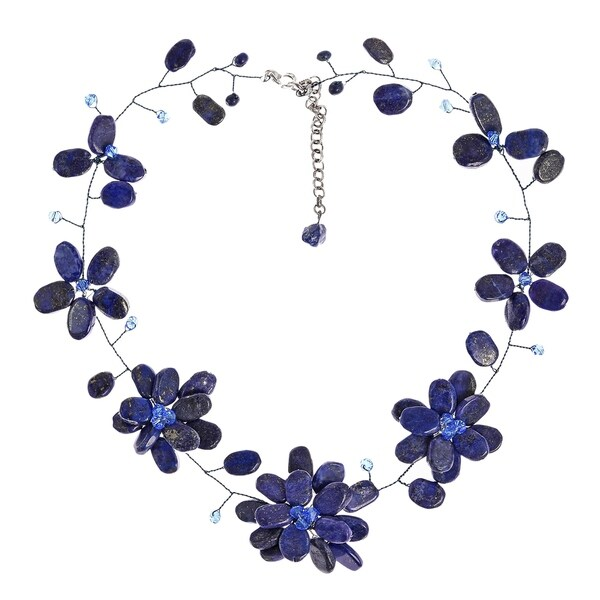 Handmade Elegant Floral Inspired Stone & Pearl Necklace (Thailand)
