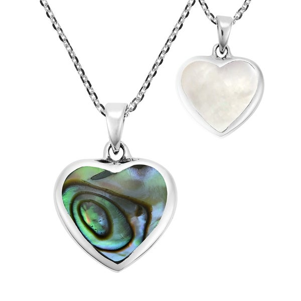 Romantic Reversible Heart Rainbow Stone and Shell Sterling Silver Necklace (Thailand)
