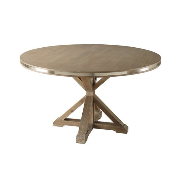 Metal Banded Wooden Round Shaped Dining Table With X Base Pedestal Rustic Brown