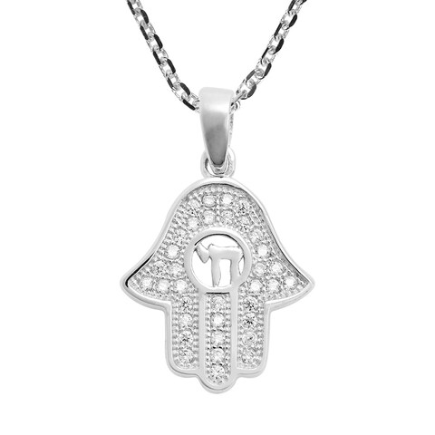 Handmade Petite Hamsa Hand White Cubic Zirconia Sterling Silver Necklace (Thailand)