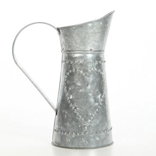 Benzara Decorative Galvanized Metal Pitcher, Gray