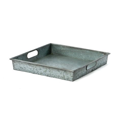 Benzara Square Galvanized Metal Tray With Handle, Gray