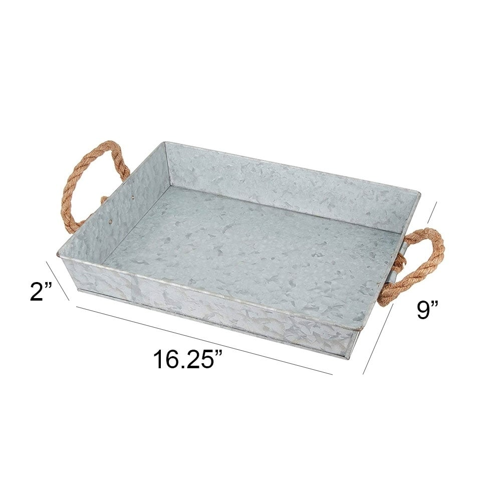 Benzara Mix Media Galvanized Tray